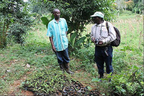 Beginning of a small tree nursery near farmland. Villager with Dr Henry Ndangalasi.